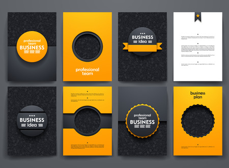 design brochures with doodles backgrounds on business theme Ilustração