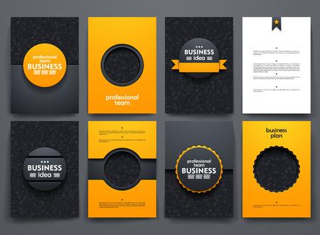 ontwerp brochures met krabbels achtergronden op zakelijke thema