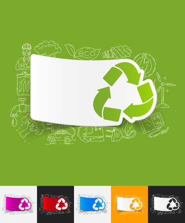 recycle sign: hand drawn simple elements with recycle sign paper sticker shadow Illustration