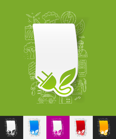 ecologist: hand drawn simple elements with eco plug leaf paper sticker shadow