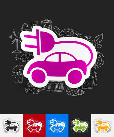 environmental analysis: hand drawn simple elements with eco car paper sticker shadow