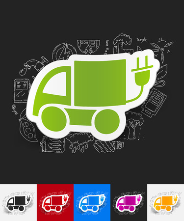 eco car: hand drawn simple elements with eco car paper sticker shadow