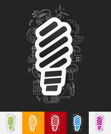 ecologist: hand drawn simple elements with fluorescent light bulb paper sticker shadow Illustration