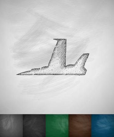 supersonic plane: fighter icon. Hand drawn vector illustration. Chalkboard Design Illustration