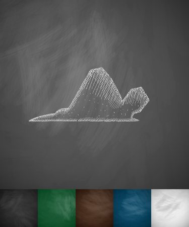 stealth: fighter icon. Hand drawn vector illustration. Chalkboard Design Illustration