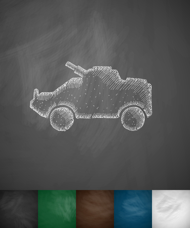 armoured: armoured personnel carrier icon. Hand drawn vector illustration. Chalkboard Design