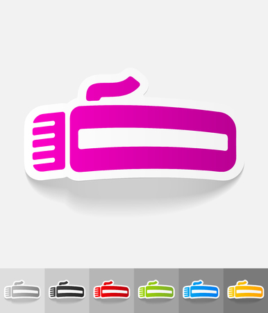 clipper: hair clipper paper sticker with shadow. Illustration