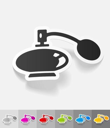 perfume bottle: perfume bottle paper sticker with shadow. Illustration