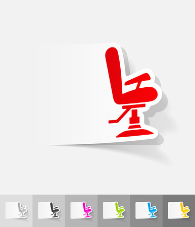 hair beauty: barber chair paper sticker with shadow.  Illustration