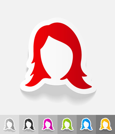 beauty icon: hair styling paper sticker with shadow.  Illustration