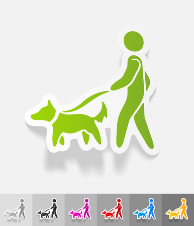 dog walking: walking the dog paper sticker with shadow.