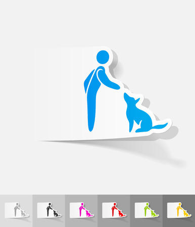 trainers: training dogs paper sticker with shadow.