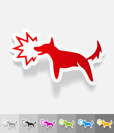 barking dog: dog barking paper sticker with shadow.