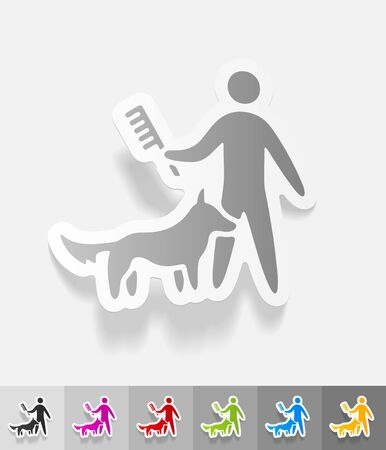 combing: caring for a dog paper sticker with shadow.