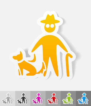 blind dog: old man and dog paper sticker with shadow.