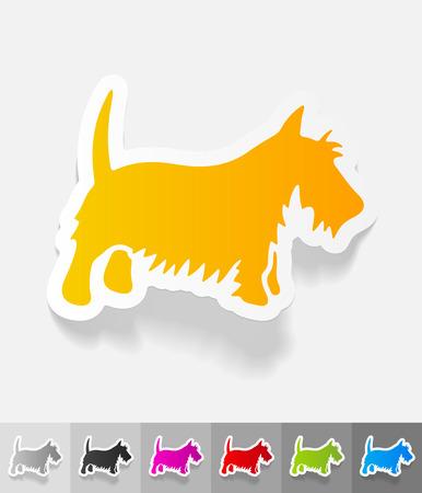 scottish terrier: scottish terrier paper sticker with shadow. Vector illustration