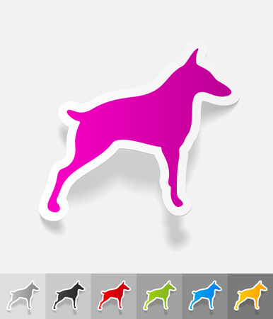 doberman: doberman paper sticker with shadow. Vector illustration