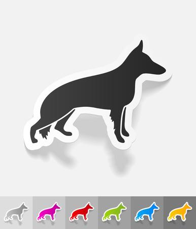handlers: german shepherd paper sticker with shadow. Vector illustration Illustration