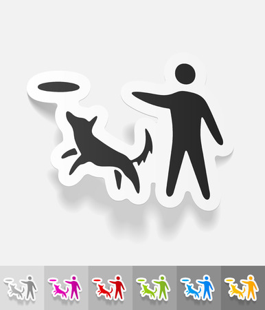 playing with a dog paper sticker with shadow. Vector illustration
