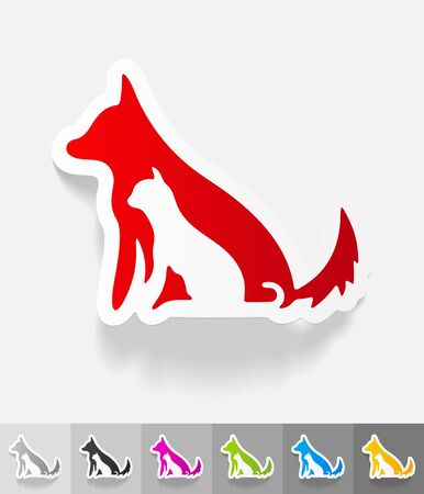 puppy love: dog and cat paper sticker with shadow.