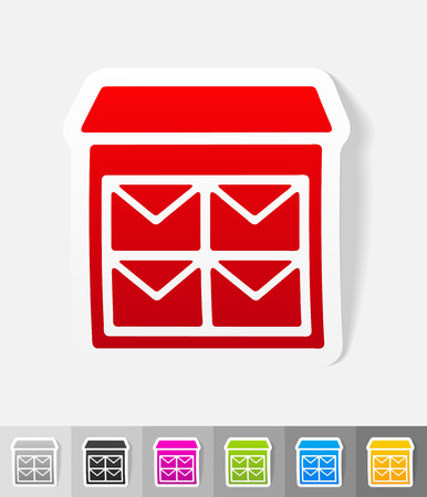 registered mail: letter-box paper sticker with shadow. Illustration