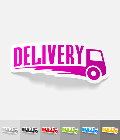 fast shipping: DELIVERY paper sticker with shadow. Vector illustration