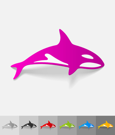 animals feeding: whale paper sticker with shadow. Vector illustration Illustration