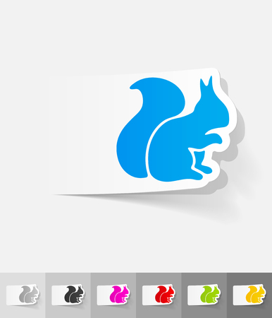 viviparous: squirrel paper sticker with shadow. Vector illustration