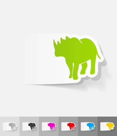 viviparous: rhino paper sticker with shadow. Vector illustration