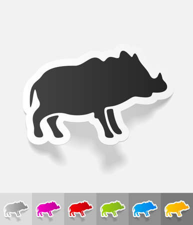 animals feeding: boar paper sticker with shadow. Vector illustration
