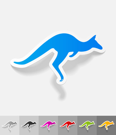 viviparous: kangaroo paper sticker with shadow. Vector illustration
