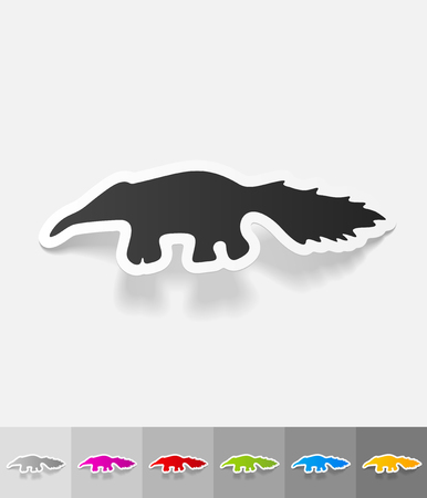 animal viviparous: skunk paper sticker with shadow. Vector illustration Illustration