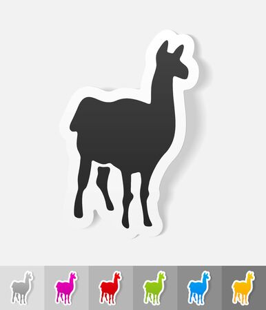 animal viviparous: lama paper sticker with shadow. Vector illustration