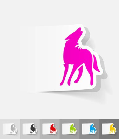 viviparous: wolf paper sticker with shadow. Vector illustration Illustration