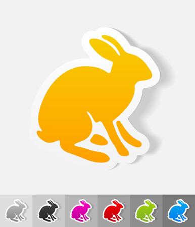 viviparous: hare paper sticker with shadow. Vector illustration Illustration