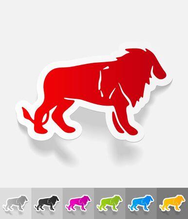 viviparous: lion paper sticker with shadow. Vector illustration