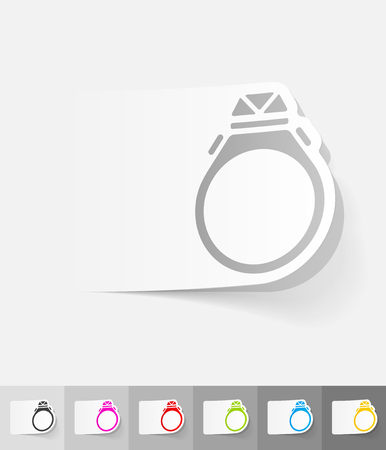 gold rings: ring paper sticker with shadow. Vector illustration