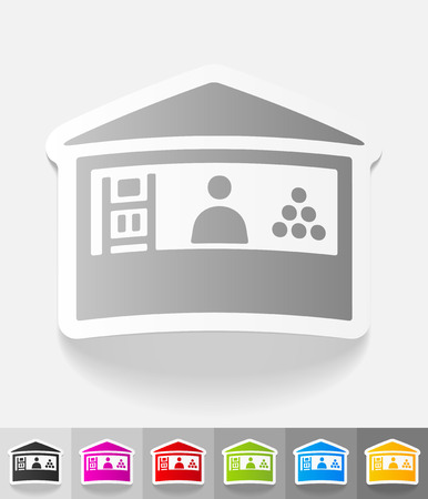 specialty store: stand paper sticker with shadow. Vector illustration Illustration