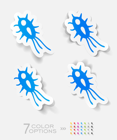 microbe: microbe paper sticker with shadow. Vector illustration