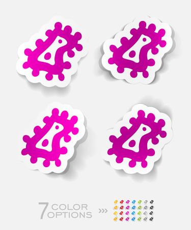 microbio: microbio etiqueta de papel con sombra. Ilustraci�n vectorial