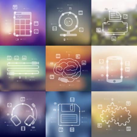 présentations de la chronologie de la technologie avec arrière-plan flou floue