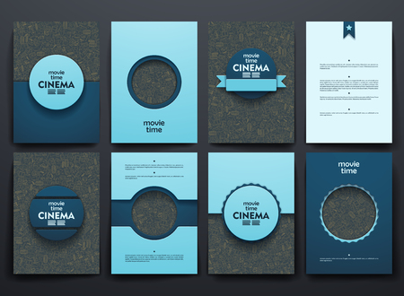 Vector design brochures with doodles backgrounds on cinema theme
