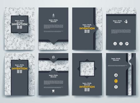 Vector design brochures with doodles backgrounds on invention theme Vettoriali
