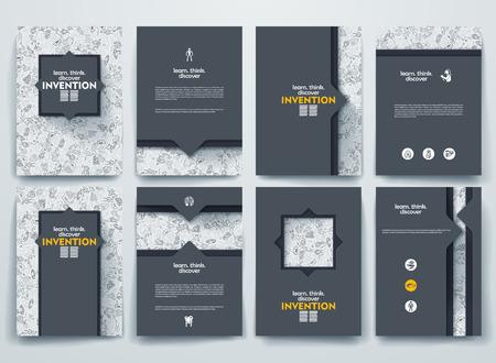 Vector ontwerp brochures met krabbels achtergronden op uitvinding thema Stock Illustratie