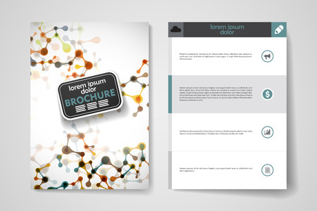 alternating: Set of brochure, poster templates in DNA molecule style. Beautiful design and layout Illustration