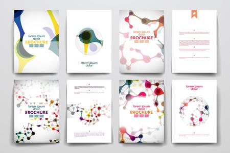 Ensemble de brochure, des modèles d'affiches dans le style de molécule d'ADN. Belle conception et l'agencement