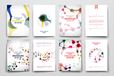 Set of brochure, poster templates in DNA molecule style. Beautiful design and layout Çizim
