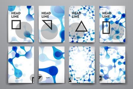 molecula: Conjunto de folleto, plantillas de carteles en el estilo de molécula de ADN. Hermoso diseño Vectores