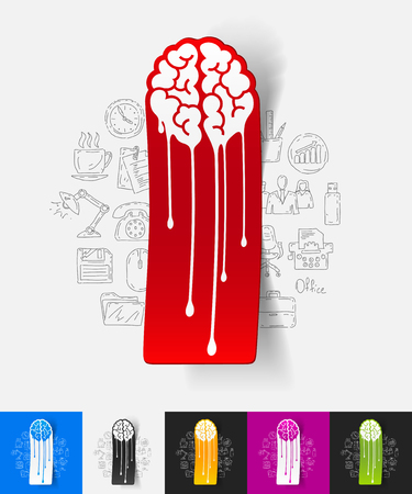 melting: hand drawn simple elements with melting paper sticker shadow