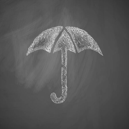 white chalk: umbrella icon